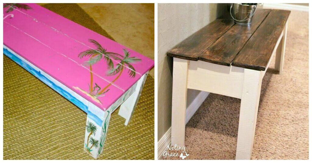 This blogger took a hot pink flamingo garage sale find and turned it into a painted bench for less than $20!