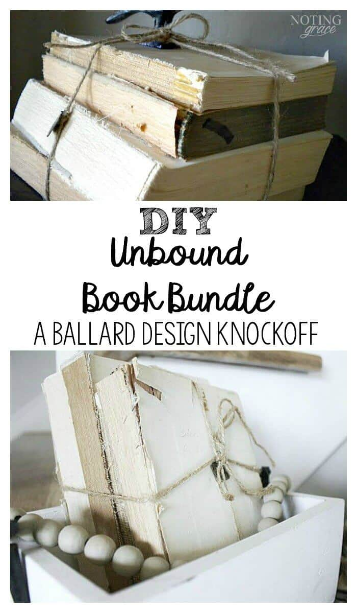 DIY Restoration Hardware books - old book and twine recreate one of Restoration Hardware and Ballard Designs top seller!