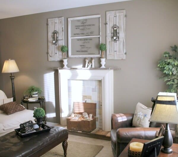 DIY Faux Fireplace Tutorial | Jen @ Noting Grace shares how she transformed her living room into a cozy reading spot with a faux fireplace.