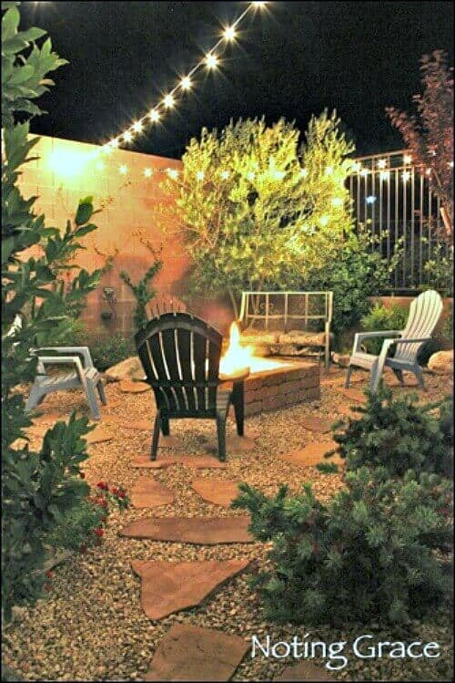 DIY Paved Patio Firepit: How we turned an ugly gravel pit into a backyard escape.
