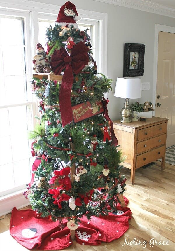 Tight budget this holiday season? How about a DIY Christmas Tree Ladder? When we didn't have a budget left for a tree, I had to get creative. This was my solution!
