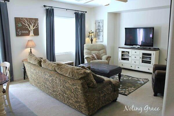 Family room with temporary decor