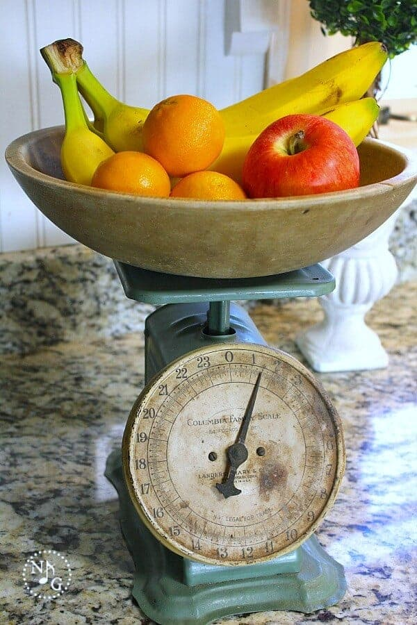 Decorating with Heirlooms - using a vintage scale in your decor