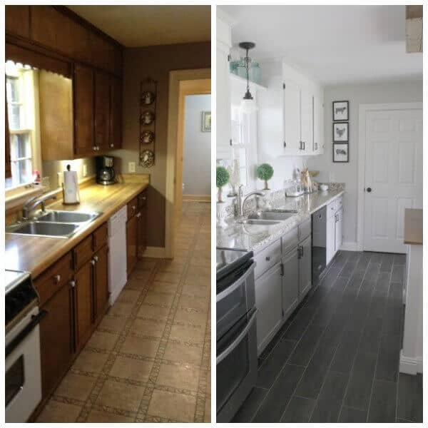 before after farmhouse kitchen makeover