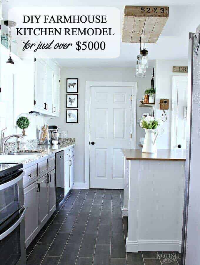 DIY Farmhouse Kitchen Remodel for just over $5000: These bloggers are sharing their secrets on how they saved money on their kitchen remodel!