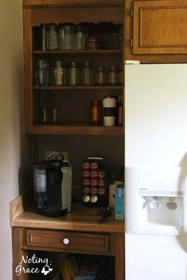 Dated kitchen about to turn into a farmhouse coffee bar