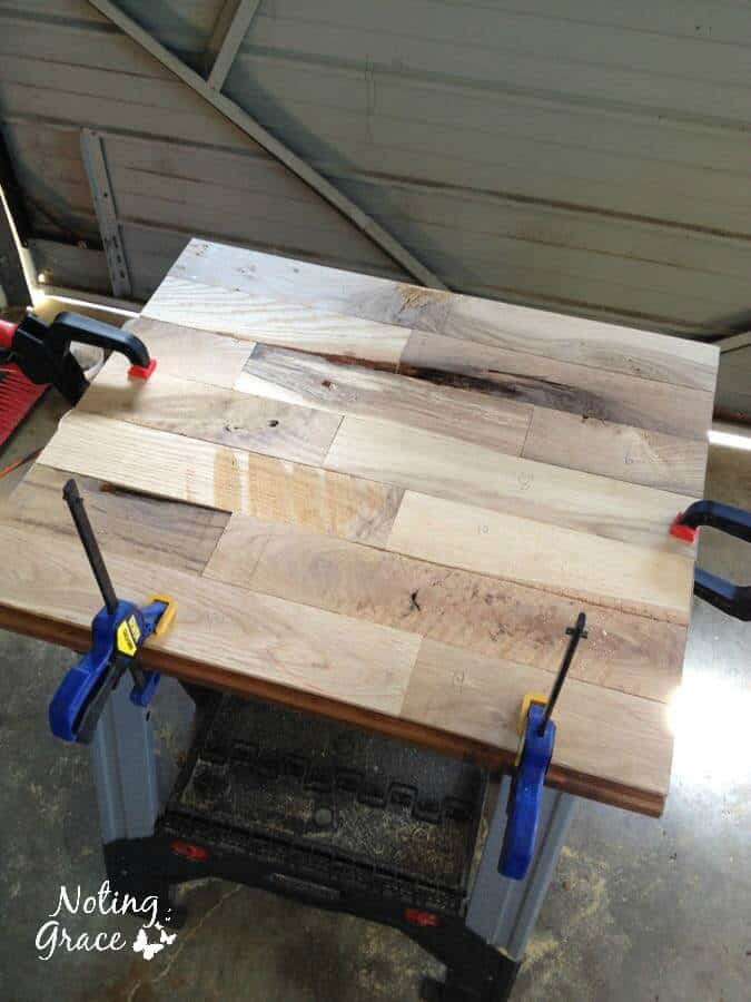 gluing scrap wood into small counter top