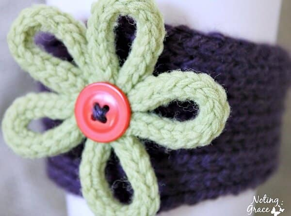 close up of knit flower