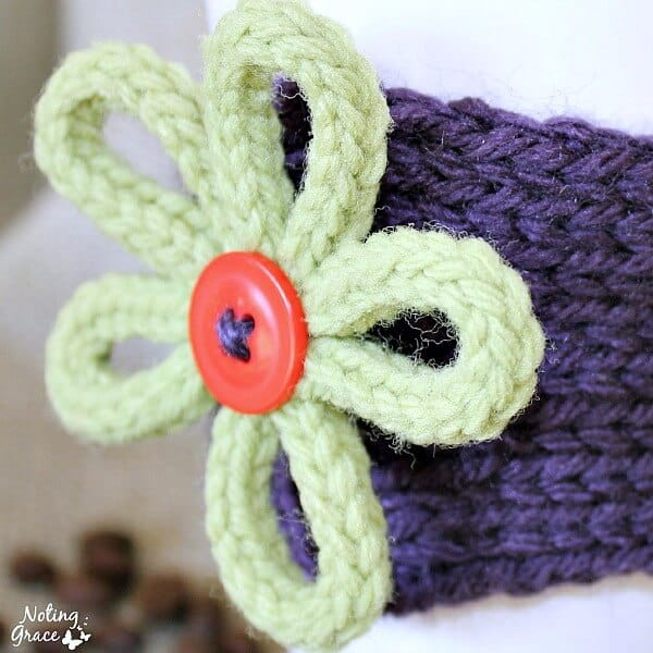 This Knit Coffee Cozy is a great custom gift you make for any friend, teacher or loved one!