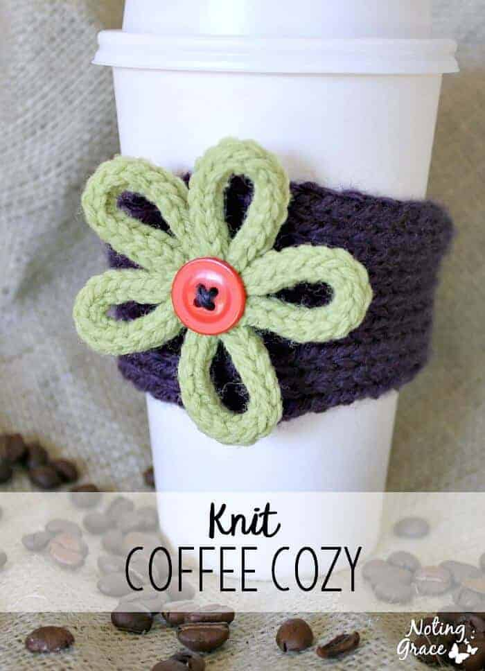 This purple Knit Coffee Cozy is a great custom gift you make for any friend, teacher or loved one!