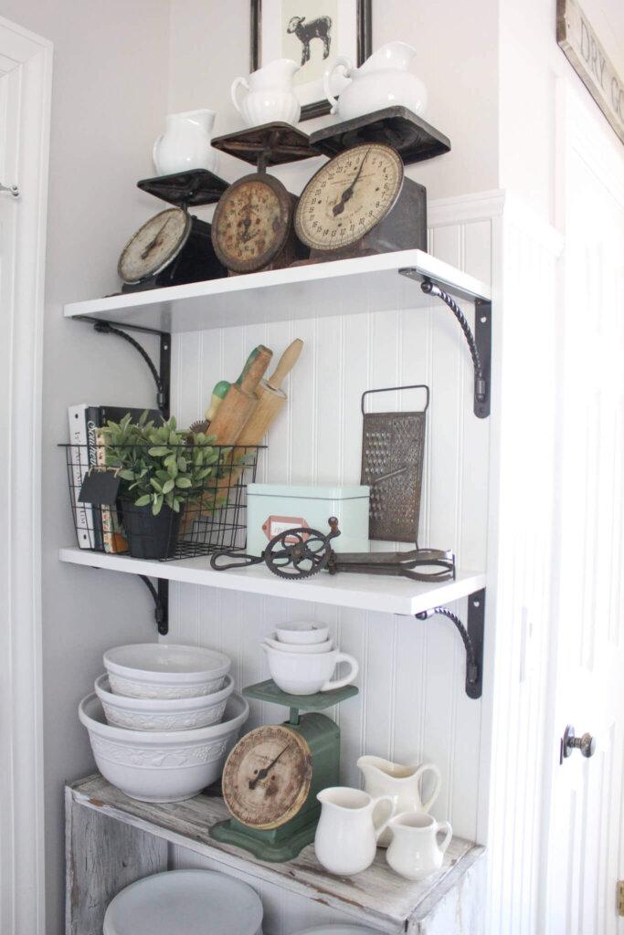 farmhouse shelf styling