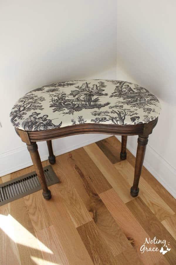 vintage dressing bench recovered.