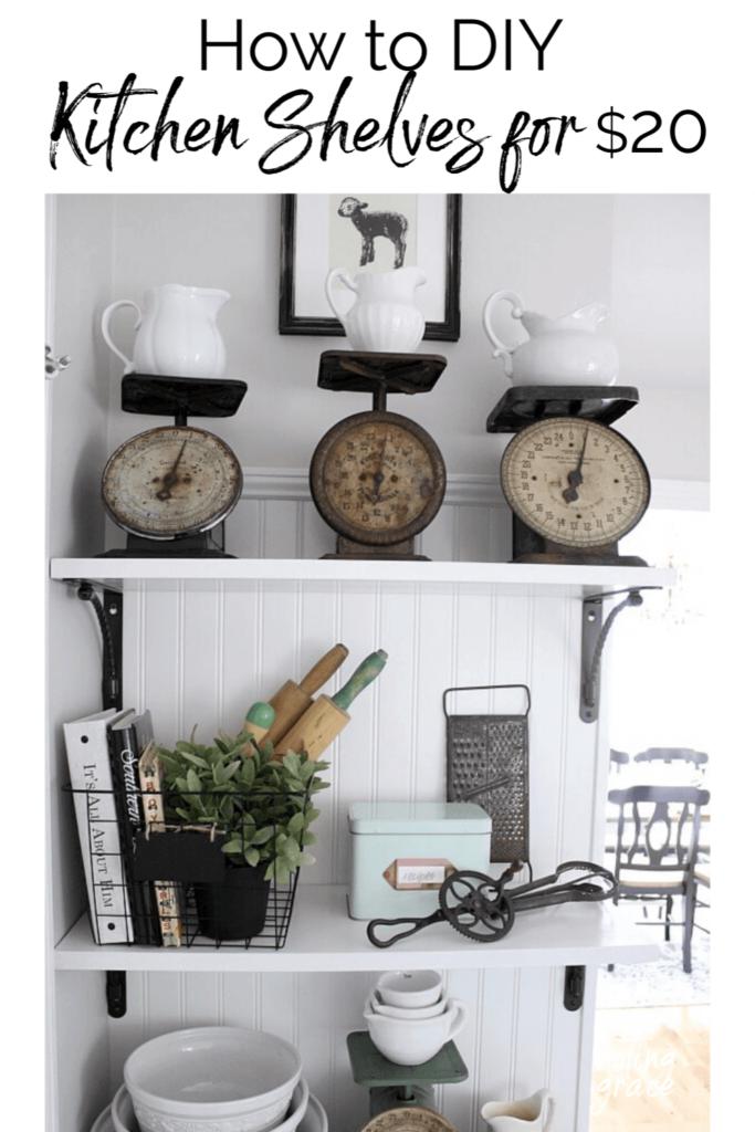 farmhouse kitchen shelves