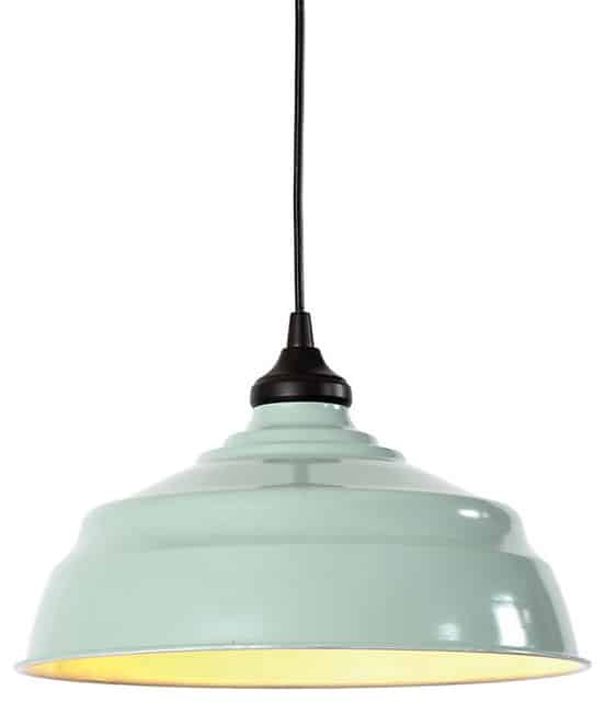 Farmhouse Industrial Metal light inspired by Ballards designs. When we were given this vintage enamel shade, we knew just what to do with it!