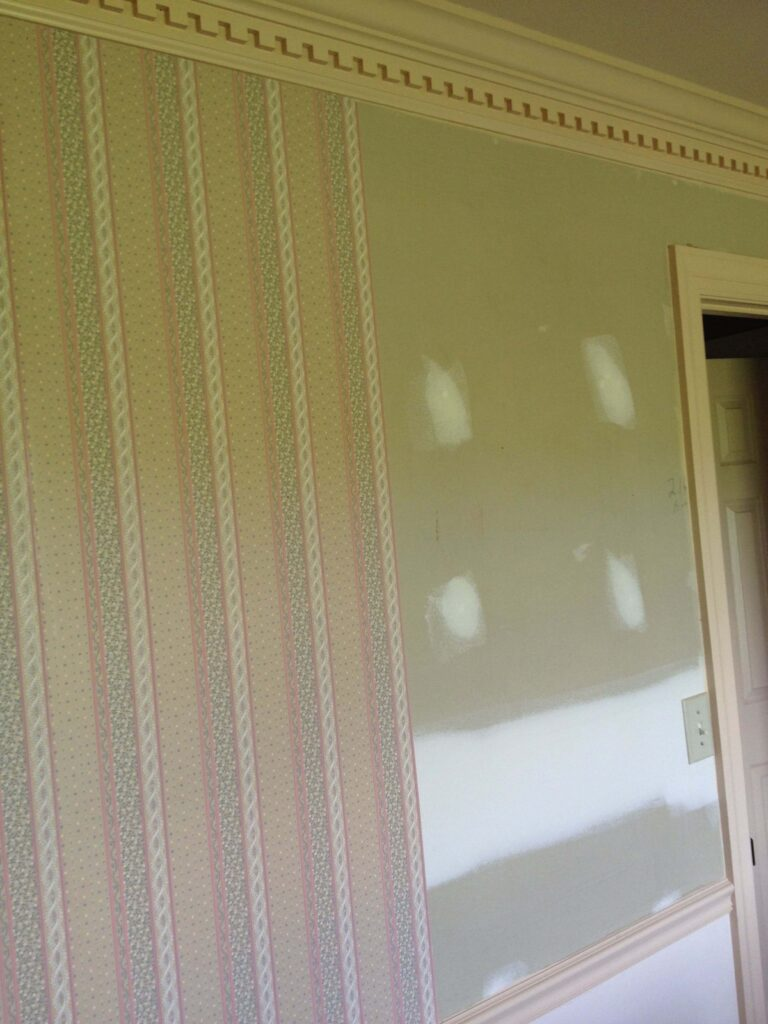 partially removed wallpaper