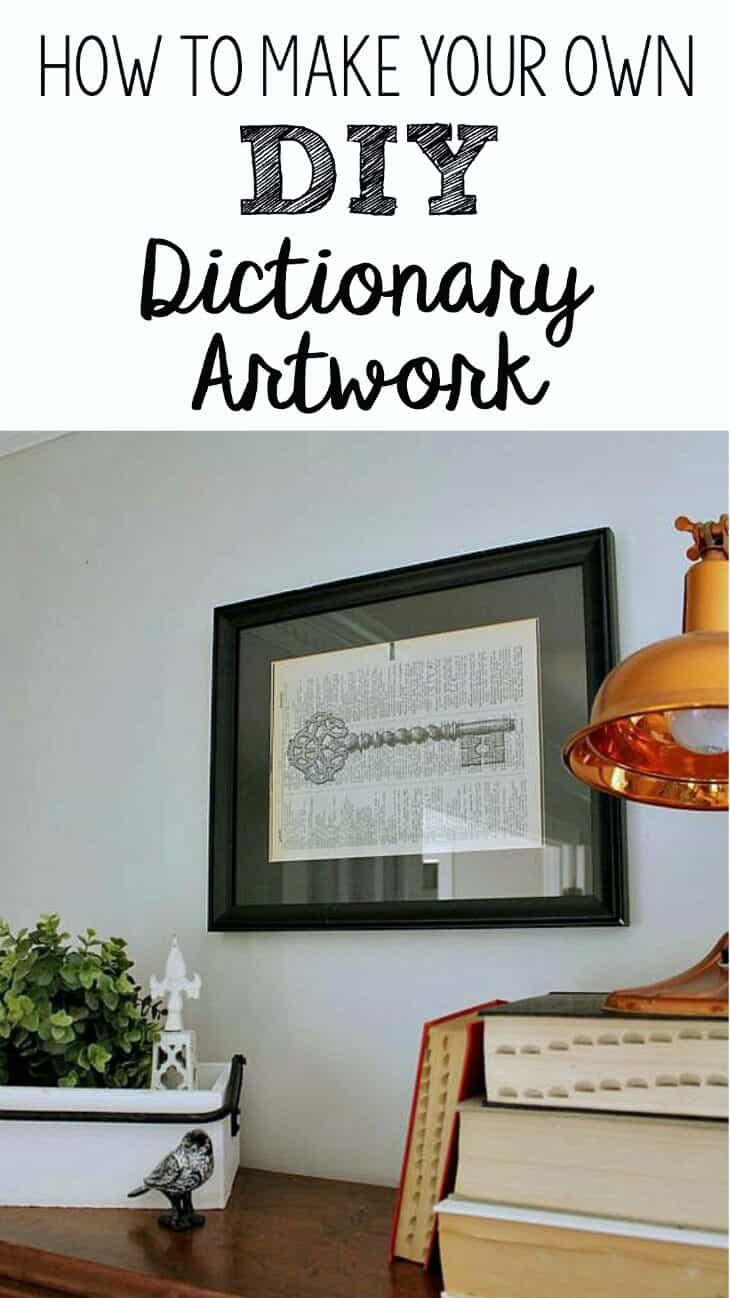 Printed Dictionary Pages: How to make your own DIY Dictionary Art work for your home.