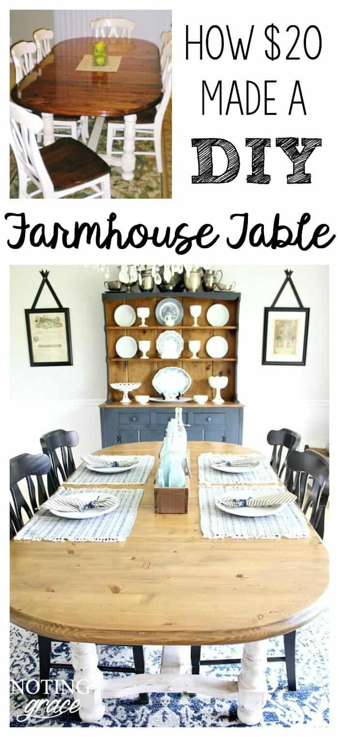 Our craigslist find wasn't working in our updating dining room. Here's how I took our table and transformed it into a Farmhouse Style Dining Table Makeover