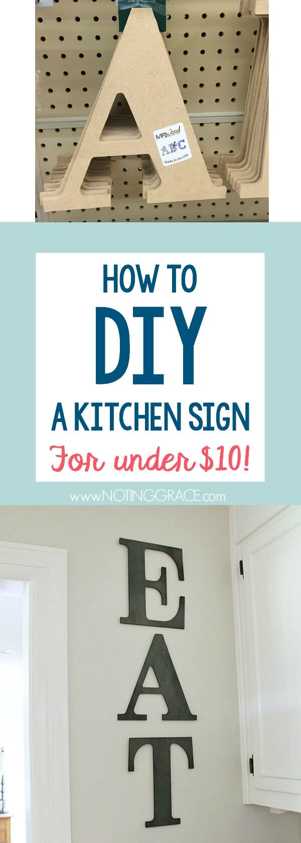 DIY Kitchen Sign for less than $10 | Noting Grace