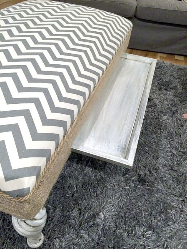 I updated my dated and weathered ottoman and transformed it into a fun DIY Chevron ottoman