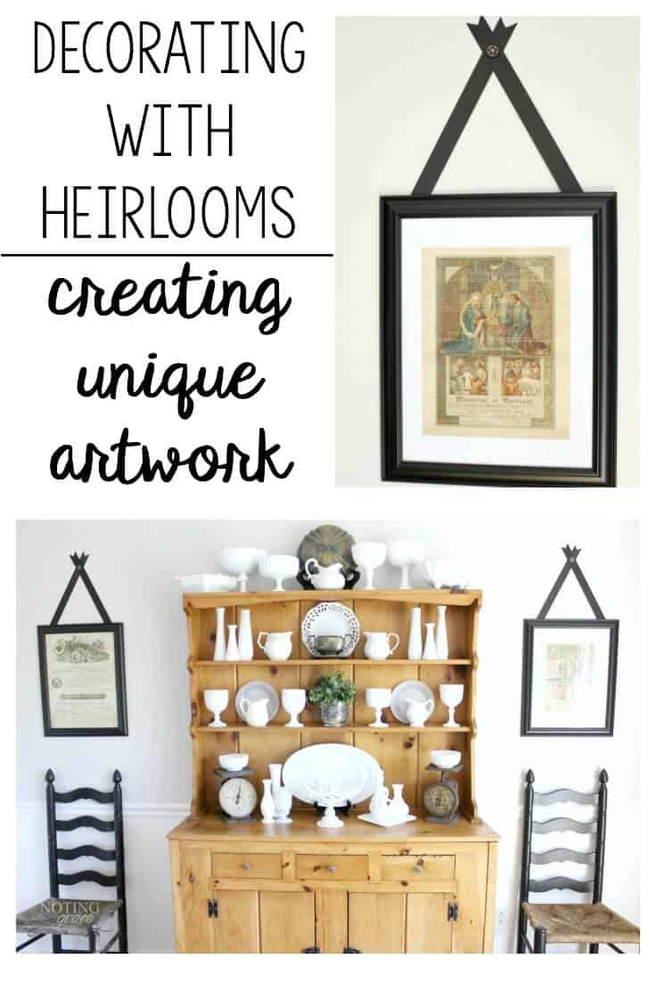 Vintage Wall Art - decorating with heirlooms and creating unique artwork