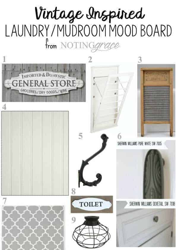ORC: Vintage Inspired Laundry Room Makeover Before and Mood board