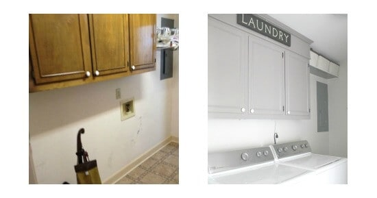 ORC: Vintage Inspired Laundry Room Makeover Week 2 Painting laundry cabinets