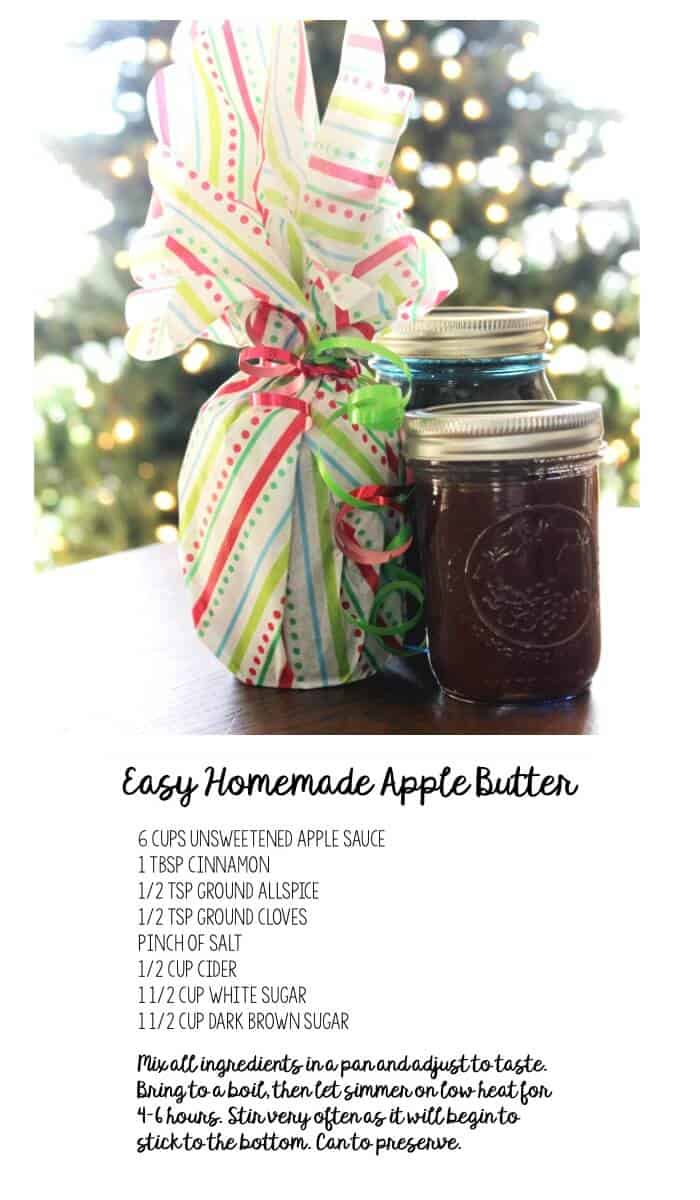 Looking for a quick gift idea that's affordable and sweet? Try this Homemade Apple Butter recipe. This can be made in a day and is a wonderful last minute gift idea!