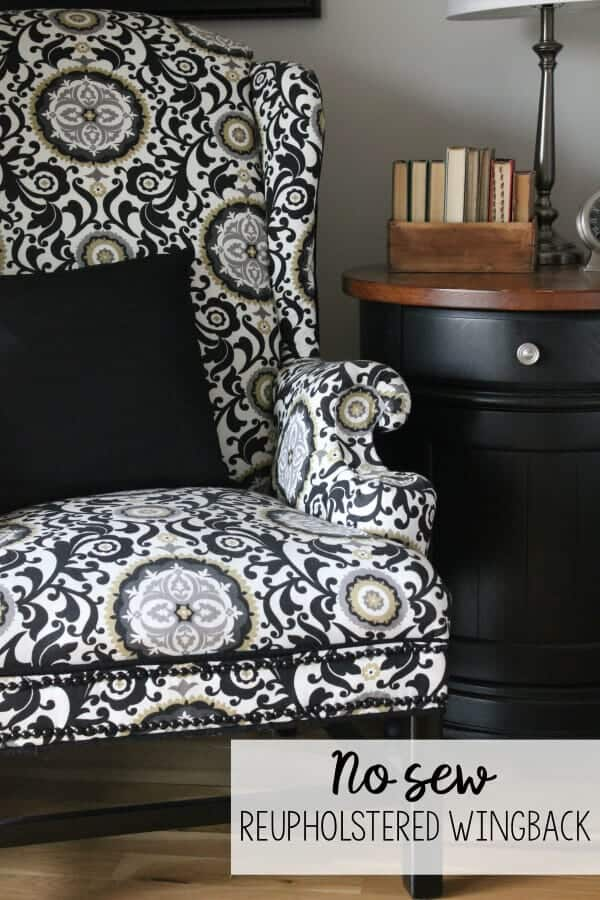 No Sew Reupholstered Wingback Chair How I Turned A Free But Ugly Into