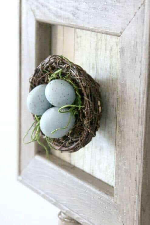 This Easy Spring DIY is such a cute way to bring touches of spring into your home by making a DIY framed nest.