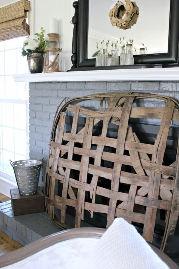 Farmhouse Spring Mantel - easy ways to add simple spring touches