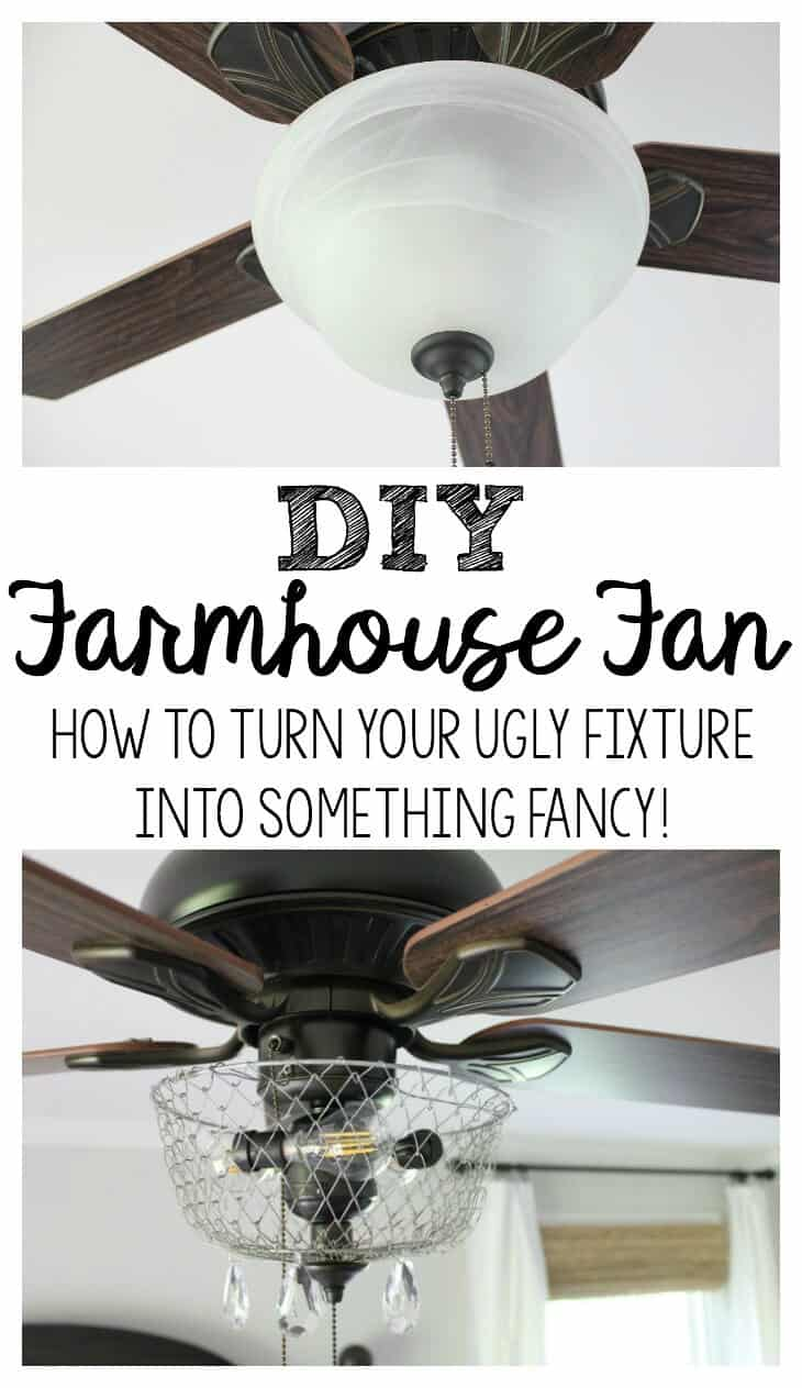 DIY Farmhouse Fan - how to turn an ugly fixture into something fancy!