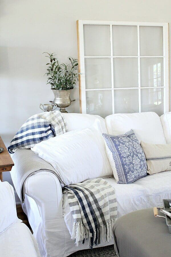 How do you keep your couches white with messy boys in your house? Answering my most commonly asked question on the blog, revealing my secret to keeping it looking fresh, plus tips to help you extend the time between washing. #ad Disclosure: This shop has been compensated by Collective Bias, Inc. and its advertiser Scotchgard™ Fabric and Upholstery Protector. All opinions are mine alone. #worryfreemessfree #CollectiveBias