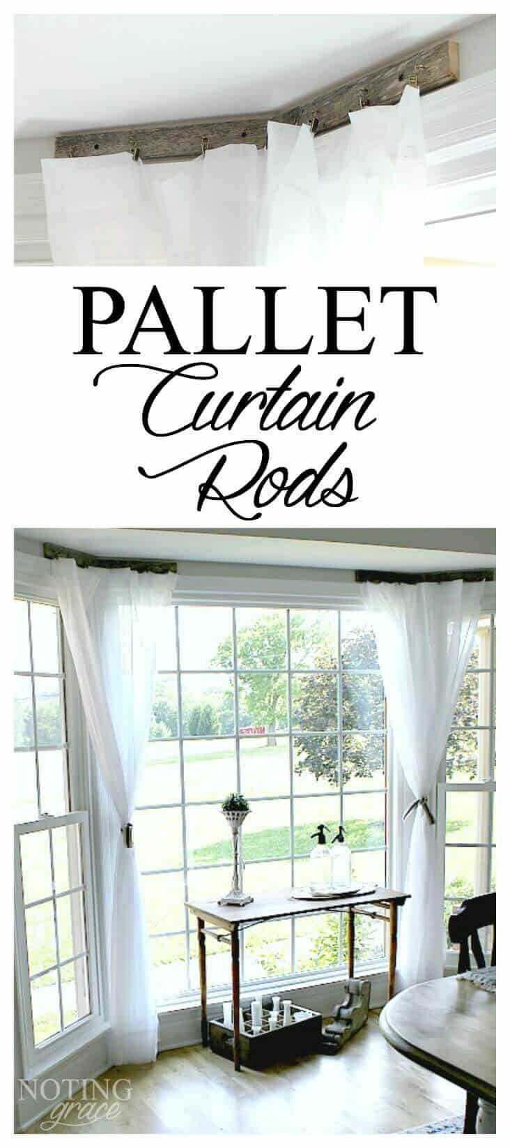 Pallet Curtain Rods - I needed a solution for my bay window and came up with this unique idea.