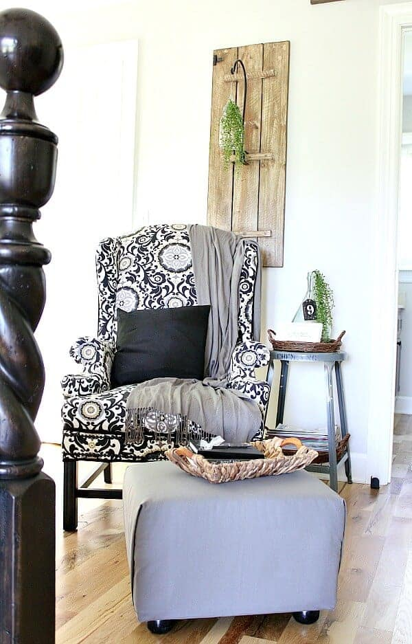 Reupholstered Ottoman: This blogger was given an ugly ottoman and she turned it into a gorgeous accessory for her armchair.