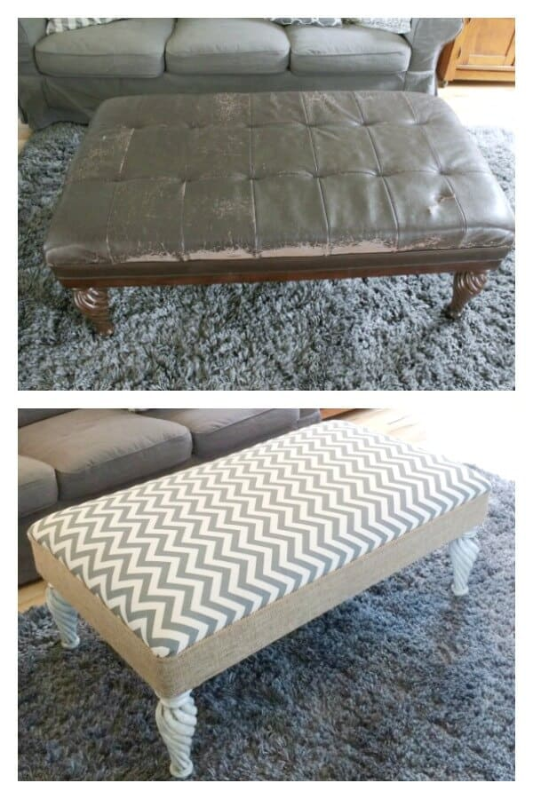 Grain Sack Stripe Painted Ottoman: I couldn't get rid of my favorite coffee table so this is how I flipped it into a farmhouse beauty.