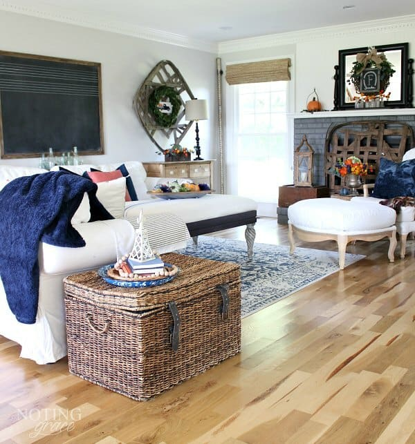 Fall Decor Ideas Canadian Bloggers Home Tour: Cozy Fall Farmhouse Decor In Navy And Orange