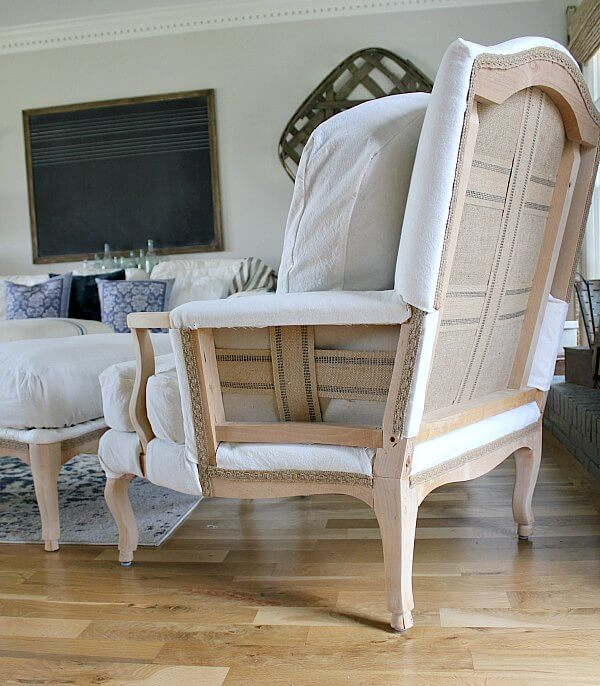 After finding a gorgeous Bergere Chair on a buy, sale, trade group for $50, Jen @ Noting Grace creates a Dropcloth Recovered Deconstructed Chair and Ottoman of her dreams!
