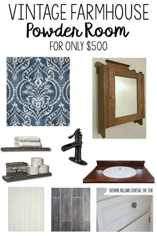 Vintage Farmhouse Powder Room - working with a limited budget, these bloggers are going to try to makeover their 1/2 bath