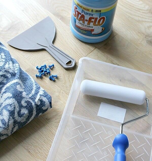 Temporary Wallpaper Tutorial: supplies needed for DIY fabric wallpaper
