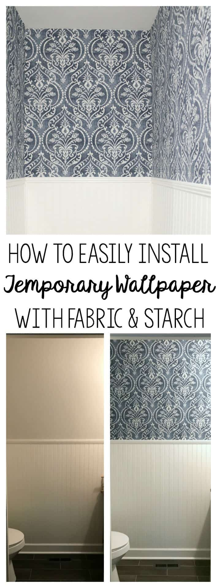 Temporary Wallpaper Tutorial: Looking for a temporary solution to wallpaper? Here is a tutorial that shows how easy it is to install fabric wallpaper using starch. It's easily removed when you're ready for a change - perfect for renters!