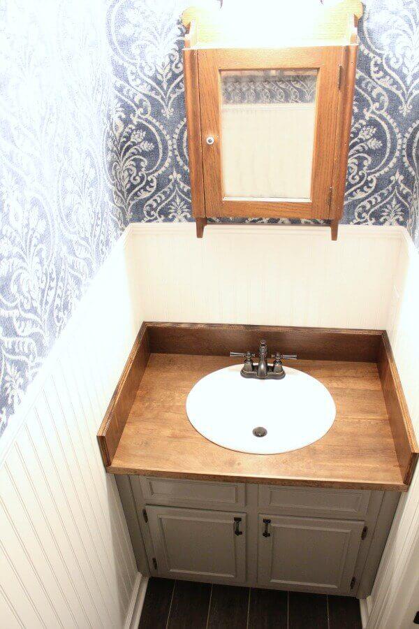 Wooden bathroom countertops