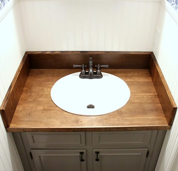 Changing Countertops In Kitchen: DIY Wood Bathroom Countertop: An Easy Way To Change Your