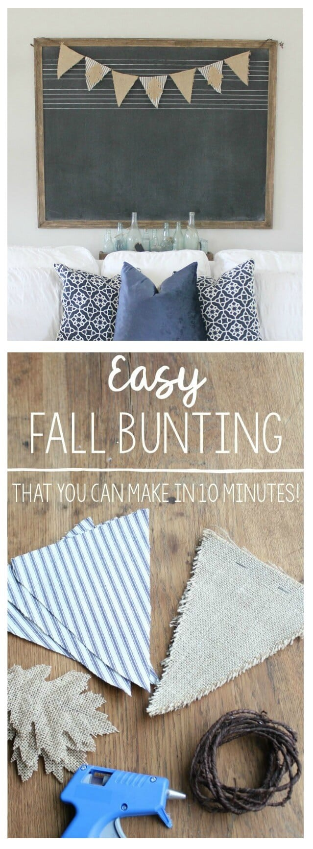 Easy Fall Bunting Tutorial: Looking for quick and easy decor for this fall season? Here's a DIY you can do in just minutes with this Burlap and ticking stripe bunting.