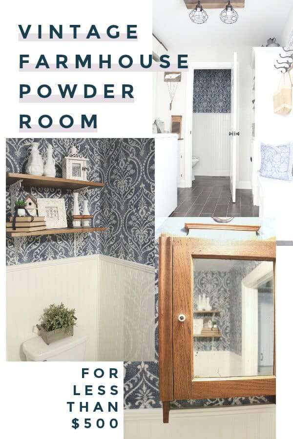 How to create a Vintage Farmhouse Powder Room for less than $500. We were on a tight budget, but it didn't keep us from creating the half bath we wanted!