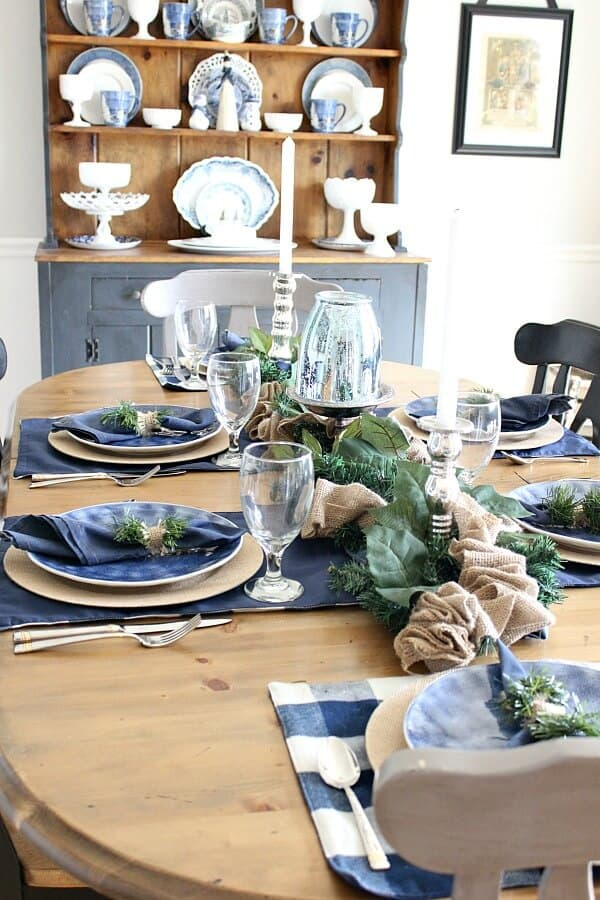 Denim and Burlap Christmas Tablescape: Creating a cozy table for company this season to allow the conversation to flow and the memories to be made.