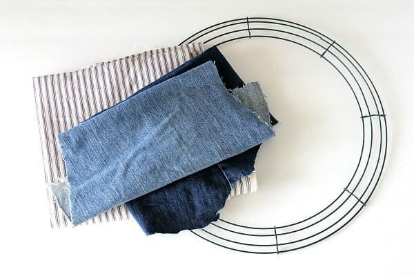 Ticking Stripe Fabric Wreath - how to make this easy rag wreath using ticking stripe fabric and old denim