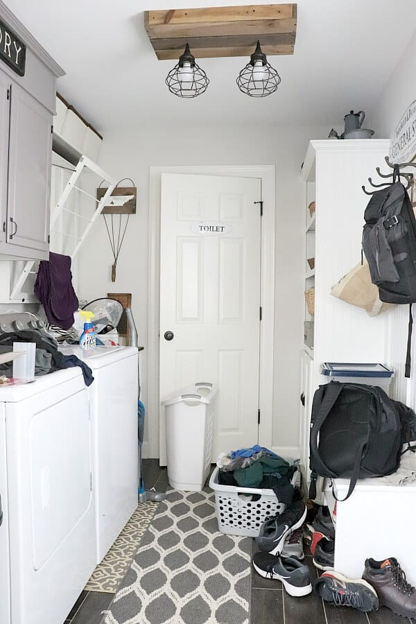 Controlling Mudroom Clutter - We all have those spots in our home - the DROP ZONES. Here's how I'm conquering the clutter that piles up in my Mudroom.