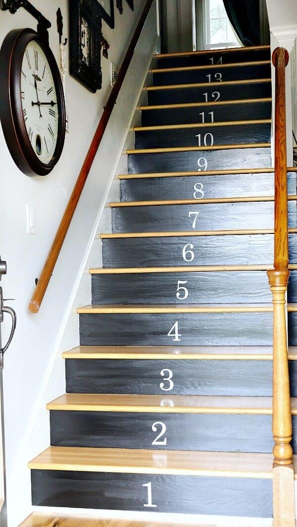 An easy staircase makeover you can do this weekend using black paint and vinyl numbers