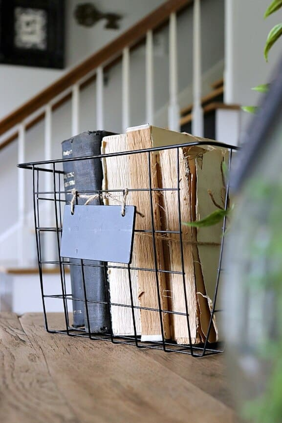 A black wire basket with old books