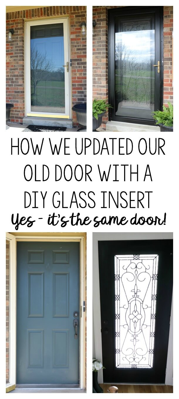 Do you live with an ugly dated door? Here is how we brightened our Entryway with a DIY Glass Door Insert. It's scary to think you can cut a hole in your front door, but look at this amazing transformation from Noting Grace!